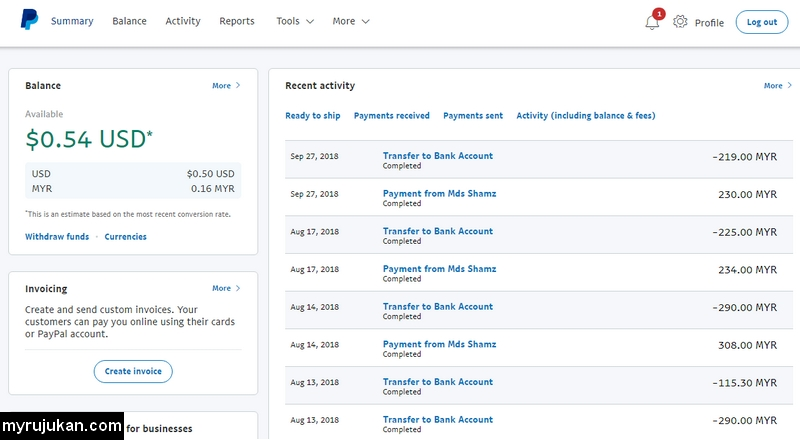 Transfer duit dari luar negara melalui Paypal ke bank tempatan Malaysia