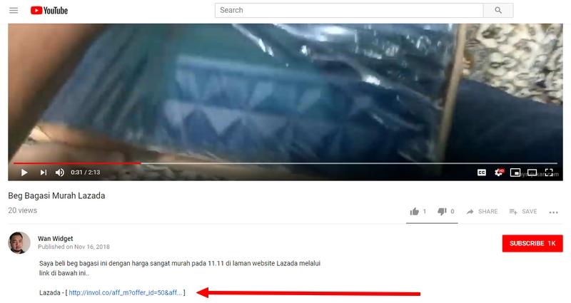 Beginilah cara saya masukkan link affiliate melalui video di ruangan description YouTube