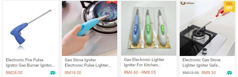 Contoh igniter lighter gas yang ada dijual di website Shopee