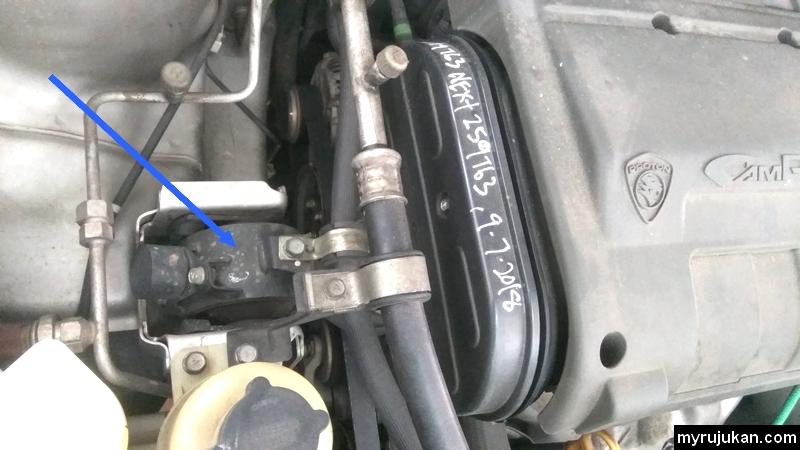 Engine mounting yang sudah rosak dan perlu diganti
