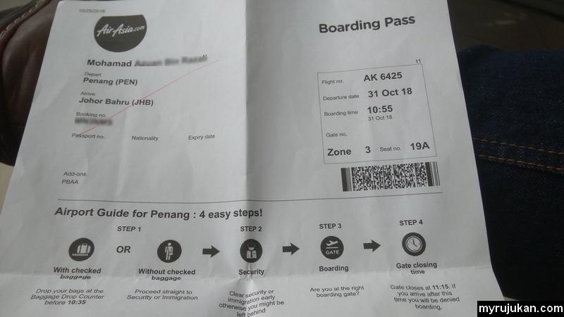 Kertas Boarding Pass perlu dicetak print dahulu sebelum naik kapal terbang