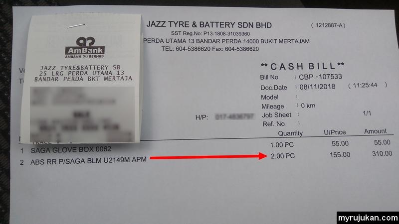 Resit bayaran menukar absorber penyerap hentak kereta untuk Proton Saga