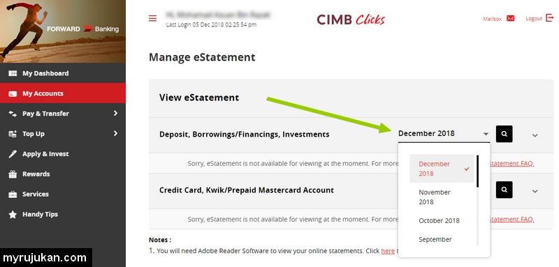 Anda boleh pilih mahu penyata online eStatement CIMB untuk bulan yang mana