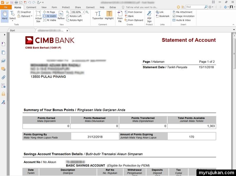 Contoh online eStatement yang saya berjaya download melalui CIMBclicks