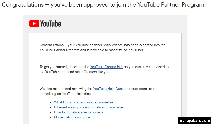 Email dari Google yang menyatakan Congratulations - you've been approved to join the YouTube Partner Program