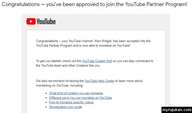 Email dari Google yang menyatakan Congratulations - you've been approved to join the YouTube Partner Program