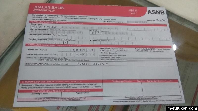 Ini adalah borang jualan balik ASB yang terdapat di Maybank