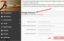 Ini adalah laman bahagian untuk tukar password cimb clicks