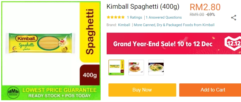 Pek bungkusan spaghetti jenama kimball boleh anda dapatkan di Lazada
