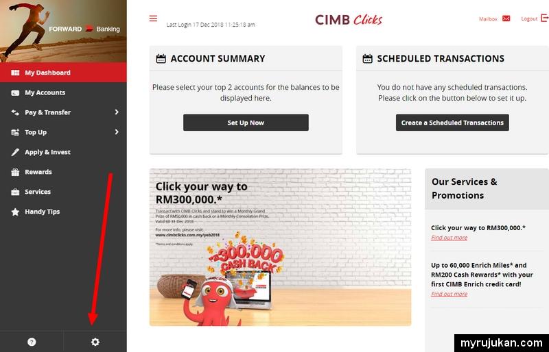 Sila klik setting di sini untuk mencari menu menukar password login cimbclicks