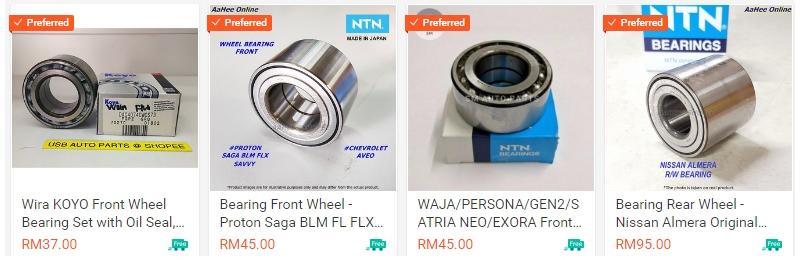 Contoh bearing tayar kereta yang dijual secara online