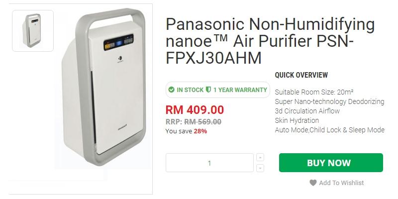 Harga Panasonic Air Purifier PSN-FPXJ30AHM