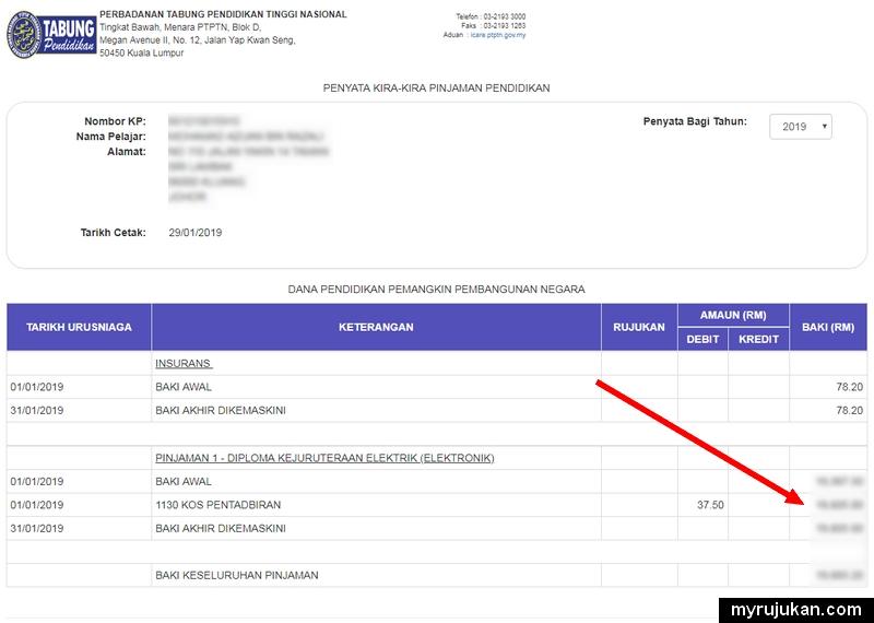Semak Penyata Pinjaman Ptptn Online Myrujukan