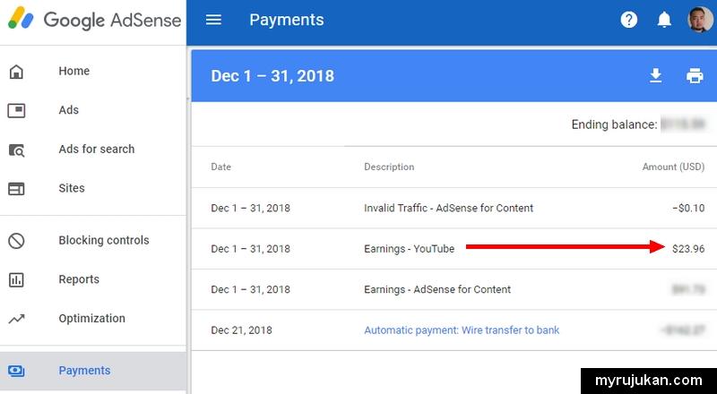 Pendapatan iklan dari YouTube Adsense