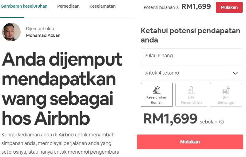 Potensi minima pendapatan jika anda jalankan bisnes homestay bersama AirBnB