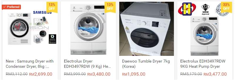 Antara jenis dryer pakaian yang ada dijual di internet