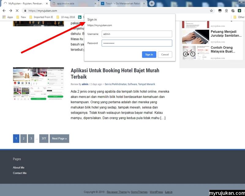 Blog keluar popup login berbeza dari biasanya