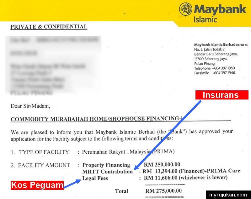 Contoh sebenar kos beli rumah untuk bayaran insurans takaful dan kos peguam