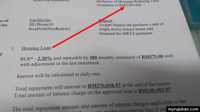 Contoh sebenar kos beli rumah untuk pembayaran insurans rumah jenis MRTA