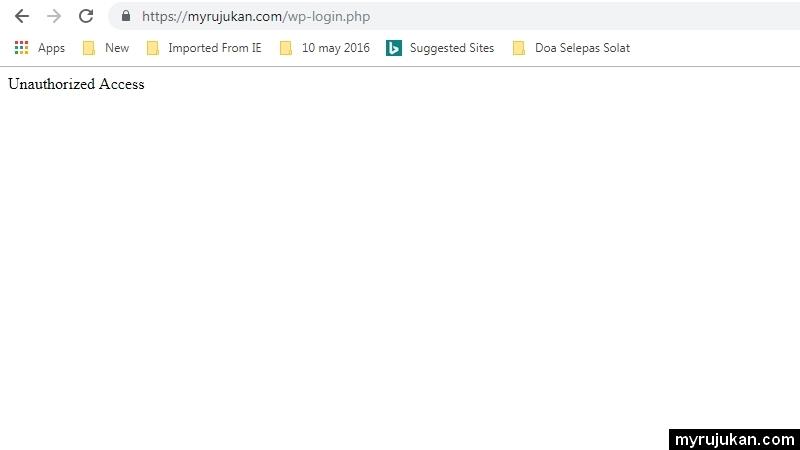 Error unauthorized access pada blog ketika mahu login