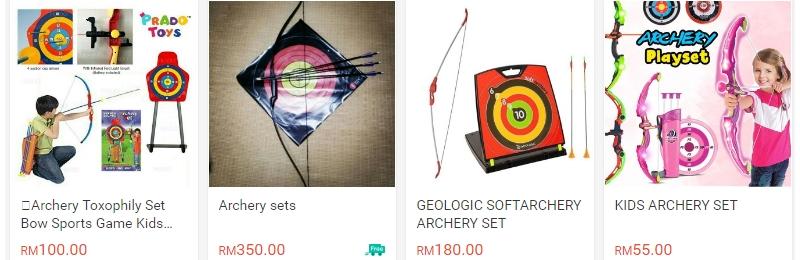 Harga archery set yang dijual di internet