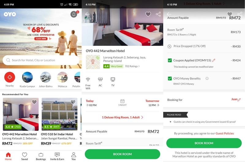 Paparan apps booking hotel bajet dari OYO