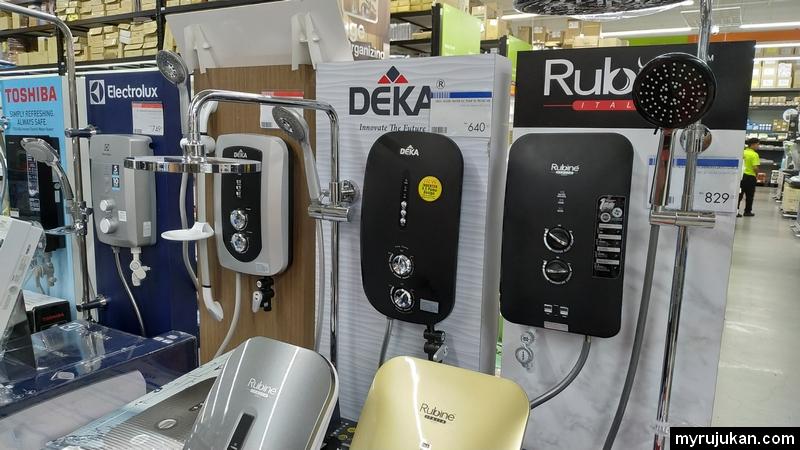 Produk water heater pelbagai jenama ada di HomePro