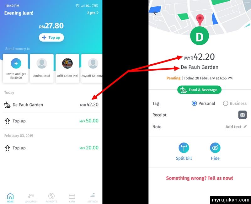 Apps BigPay menunjukkan corak perbelanjaan anda dengan mudah