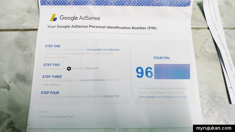 Nombor pin Google Adsense