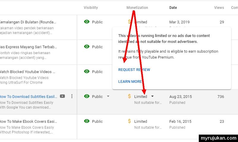Sila klik pada limited dan minta request review sebelum boleh menukar limited jadi monetized