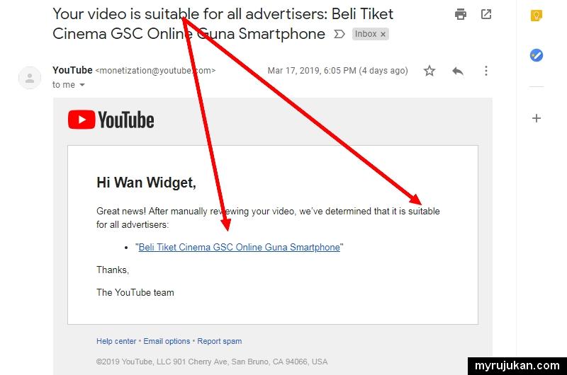 Video akan dianggap sesuai selepas request review dan boleh monetization