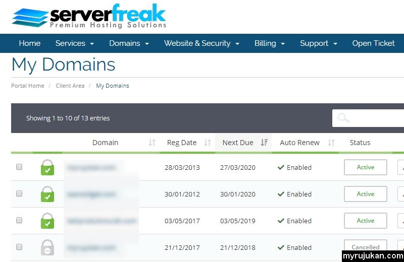 Senarai domain yang saya beli melalui Serverfreak
