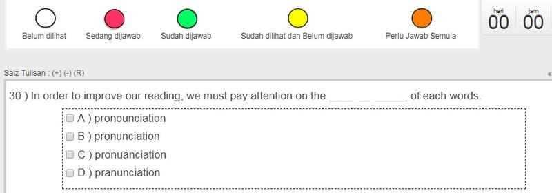 Contoh soalan Kefahaman Bahasa Inggeris iaitu seksyen C dalam exam online PTD M41