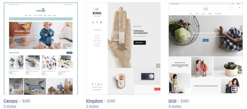 Contoh theme kedai online e-commerce dari Shopify yang cantik