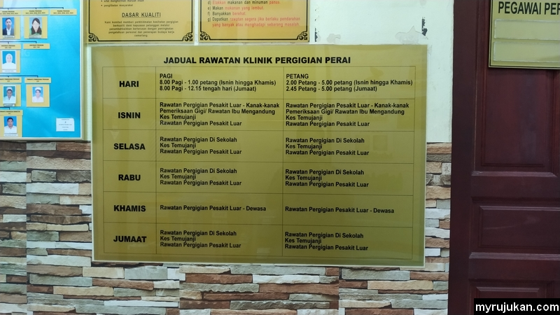 Jadual rawatan klinik pergigian Perai Pulau Pinang