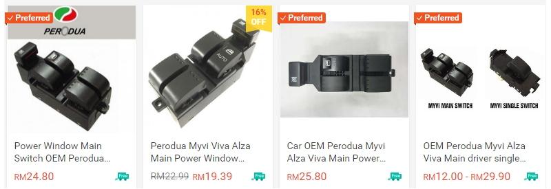 Powerwindow switch Myvi banyak dijual di Shopee