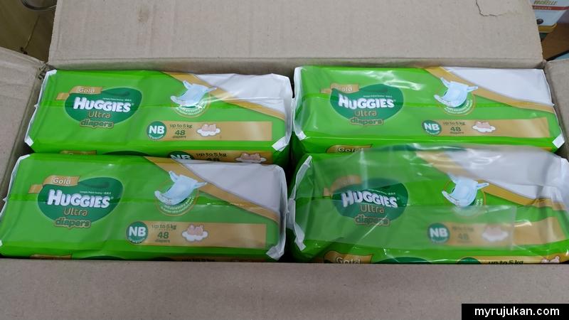 Beginilah lampin pakai buang jenama Huggies dalam kotak Shopee