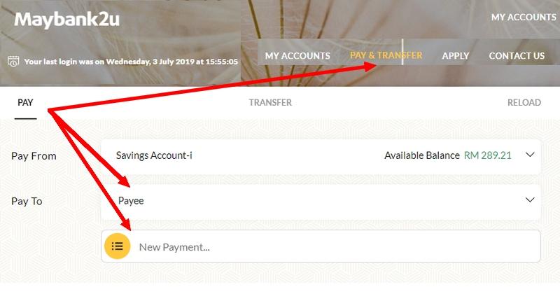 Cara bayar bil RedOne postpaid dengan Maybank2u