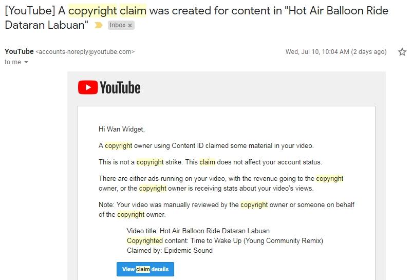 Rakam video aktiviti outdoor terakam lagu pun boleh kena copyright content claim
