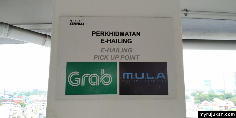 Antara perkhidmatan e-hailing yang ada di Penang Sentral