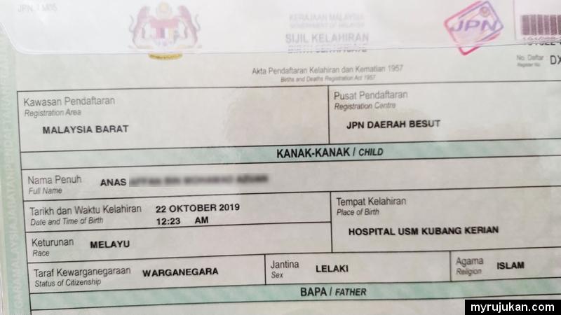 Selepas daftar kelahiran bayi akan dapat sijil kelahiran