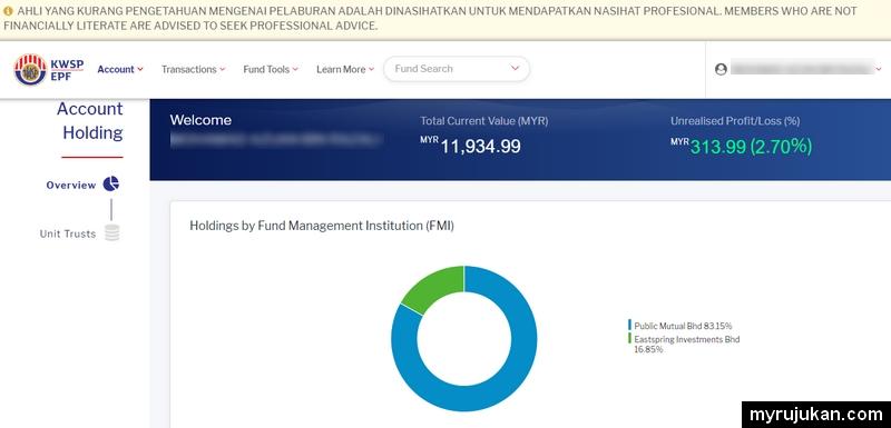 i-Invest KWSP memaparkan jumlah dana amanah yang dibeli rugi atau untung