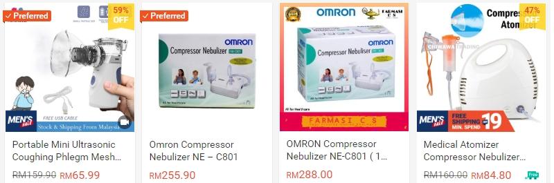 Alat mesin nebulizer yang banyak dijual secara online di Shopee