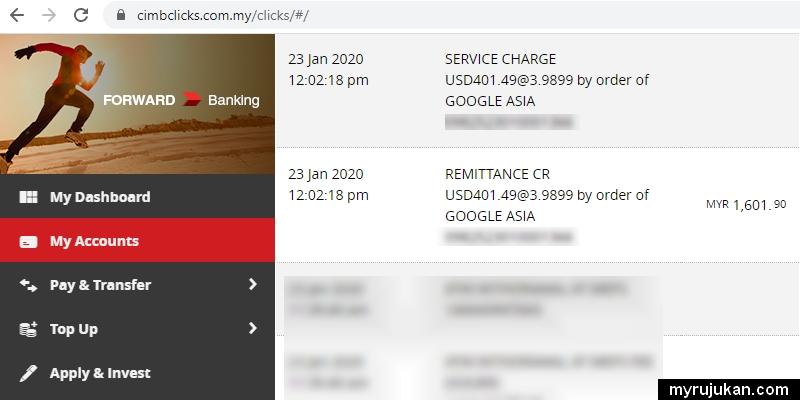 Contoh duit Google Adsense yang terus masuk akaun bank Malaysia