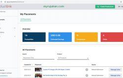 Ini adalah paparan dashboard affiliate YouTube dari Productlink.io