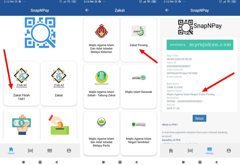 Aplikasi untuk bayar zakat fitrah Penang online