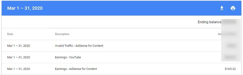 Income hasil buat duit dengan Adsense blog March 2020