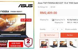 Contoh laptop gaming murah bawah RM3000 brand jenama Asus