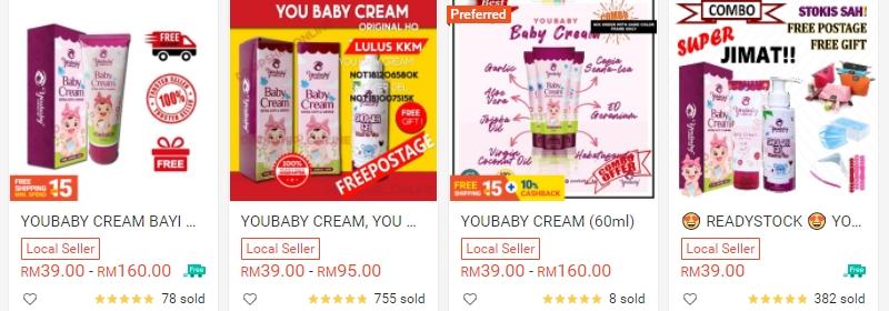 Anda boleh cari dan beli babycream YouBaby di Shopee