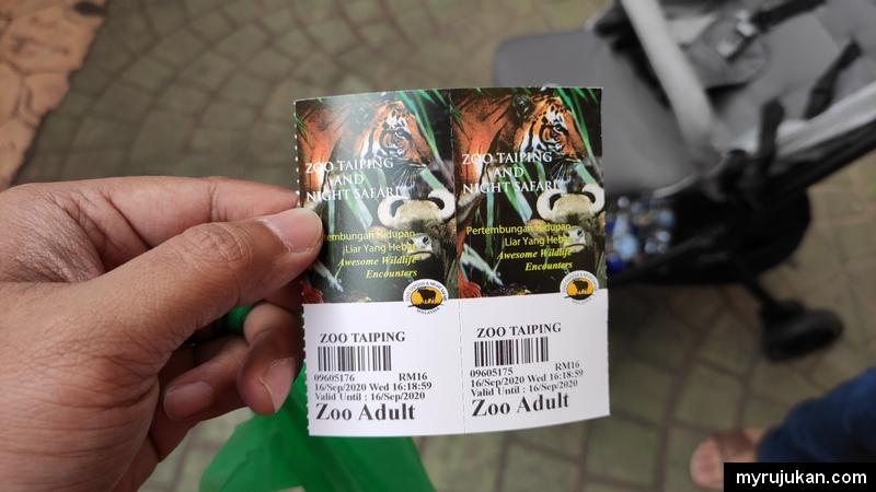 Harga tiket bagi dewasa di Zoo Taiping